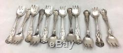 Antique Gorham Silver Silverplate Ice Cream Forks Kings Pattern SET 12