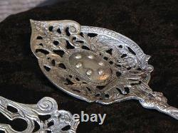 Antique Italian Ornate Salad Fork and Spoon Set Made in Italy