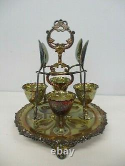 Antique Joseph Parker & Sons Silverplate Egg Cup Set