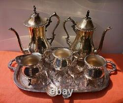 Antique LOT Sheffield Style Silver Plated 8 PICES Tea Set Estate sale