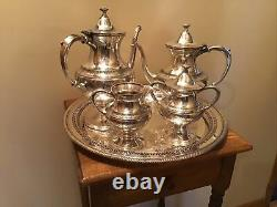 Antique Meriden Co 4 Pc Etched Silverplate Tea Coffee Set With 15 Cut Out Tray