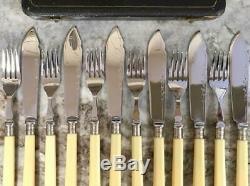 Antique Ornate Fish Set Knives & Forks Box Sheffield Chromium plate Stainless st