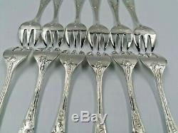 Antique Oysters Serve Shell Forks Set Silver Plated IMPERIAL France 12 Pcs Box