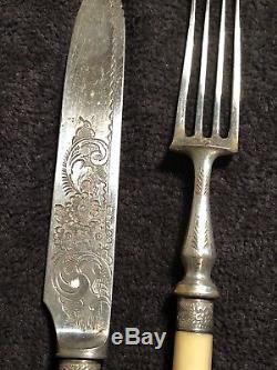 Antique Rare Victorian Silver Plate Flatware Set For Dessert Fruit 24pieces