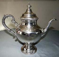 Antique Reed & Barton 5200 Silverplate Coffee Service Set Pot Creamer Sugar Tray