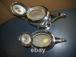 Antique Set English Silver Plate Benetfink & Co Cheapside Tea & Coffee Pots 2656