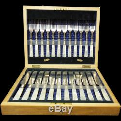 Antique Set of English Mother of Pearl & Silvered Fruit Knives & Forks