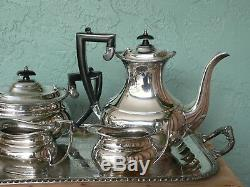 Antique Sheffield England Crafton Silver Plate Tea Set & Lg Serving Tray 1920s