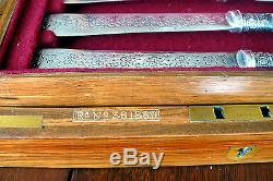Antique Sheffield Fish Set in Locking Wood Box, MOP Handles, SP Blade, Ster Band