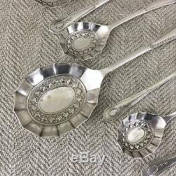 Antique Silver Plated Cutlery Flatware Spoons Serving Set Ornate Edwardian