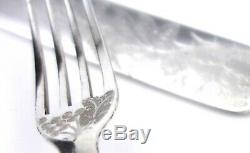 Antique Silver Plated Mother of Pearl Cutlery Set Knives & Forks 24 Pcs Grapes