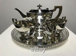 Antique Silver Teapot Set Tray H & H Bowl Vintage Genuine Art Deco Retro
