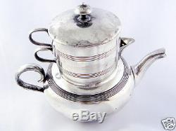 Antique Stacking Tea Set, creamer, sugar, pot, Delamere shape Apollo Silver 1530