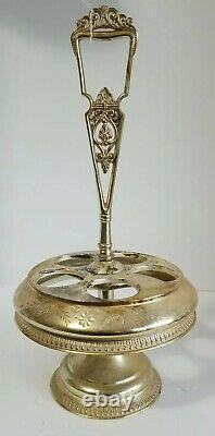 Antique Victorian Era Silverplate Cruet Set With 5 Etched Condiment Bottles