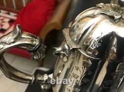 Antique Victorian Ornate Silver Plate 4pc WFP & Co Lobe Shape Teaset Tea Set