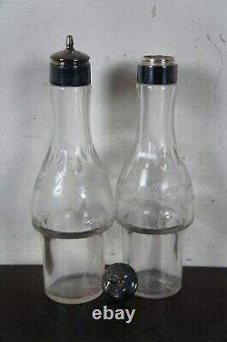 Antique Victorian Silver Plated Etched Cruet Condiment Set Footed Caddy 16
