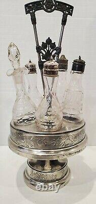 Antique Vintage Silverplate Castor Condiment Cruet Set 5 Bottles & Stand