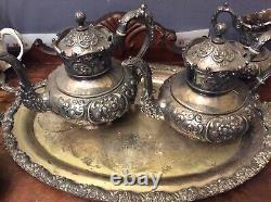 Antique ornate meridien britannia tea coffee set quadruple plate repousse