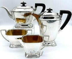 Art Deco Silver Plate Four Piece Tea Set by Atkin Brothers 1917