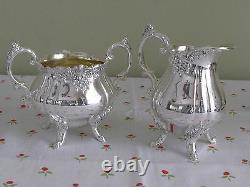 BAROQUE by Wallace silverplate 4pc COFFEE SET pot, sugar bowl, creamer, tray
