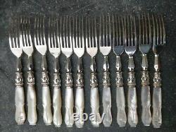 BOXED SET 24 SILVER PLATED & MOTHER OF PEARL FRUIT KNIVES & FORKS very nice lot2
