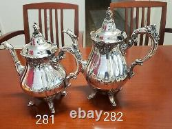 Baroque Tea & Coffee Set by Wallace 5 piece Vintage Siverplate Set