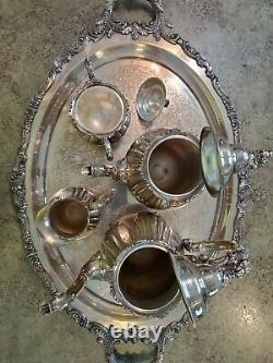 Beautiful BAROQUE by Wallace 5pc Silverplate TEA SERVICE Set No Dents No Monos