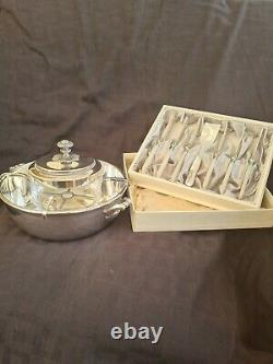 Beautiful Christofle Caviar Set With MOP & Silver Spoon & Knives