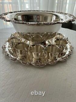 Beautiful Towle Vintage Silver-Plated Punch Bowl Set 10 Cups