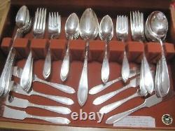 Beautiful Wm. Rogers 61 pc Silverplate flatware set Rosemary pattern 1919