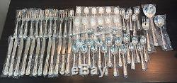 Brand New WM Rogers & Son Enchanted Rose Silver Plated Flatware 63 Piece Set
