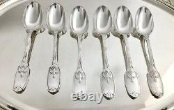 CHRISTOFLE ANTIQUE SILVERPLATED DELAFOSSE LARGE SPOONS SET OF 6 pcs