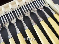 CHRISTOFLE Complete Art Deco DESSERT 6 Set for 12 people Stainless Steel RARE