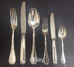 CHRISTOFLE Malmaison Set 69 Pieces For 12 People Dinner Flatware Silver Plated