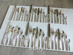 CHRISTOFLE TRIADE SILVER PLATE DINNER SET FLATWARE 42 PIECES MINT (set 2)
