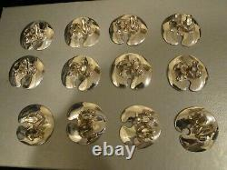 CONTEMPORARY EMILIA CASTILLO SILVERPLATE SET of 12 FROG PLACE CARD HOLDERS