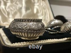 Cased set of 4 Victorian Silver plated open salts & spoons CARMICHAEL LTD