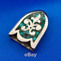 Chet Vogt Silver Plate Mexico Artisan Turquoise Mosaic Inlay 3 Piece Buckle Set