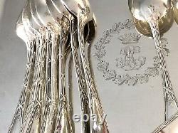 Christofle Antique Crossed Ribbons Silverplated Set Of 12 Tea/coffee Spoons