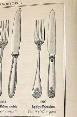 Christofle Antique Empire Malmaison Silverplated Large Spoons Set Of 6 Pcs