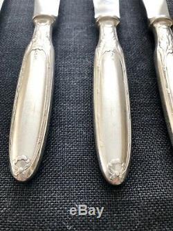 Christofle Antique Marie Antoinette Silver Plated Dessert Knives Set