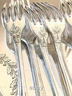 Christofle Antique Silver-plated Marie Antoinette Set Of Forks 6 Pcs