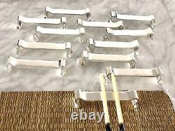 Christofle Art Deco Modernist Silverplated Knife Rest Set 12 Pcs By Luc Lanel