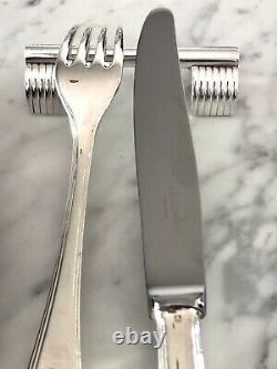 Christofle Art Deco Silverplated Knife Rest Set 12 Pcs By Luc Lanel'arceaux