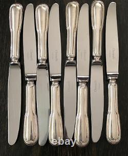 Christofle CHINON France Silver Plate Set 8 Dessert Knives Vintage