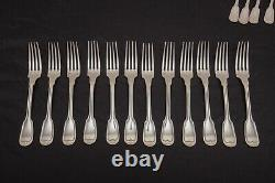 Christofle Chinon Silverplate Flatware Set Dinner Service for 11+ 70 Pieces