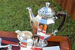 Christofle Colbert Godrons Silver Plated Coffe and Tea Service Set of 5 Pieces