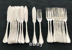Christofle Crossed Ribbons Silverplated Fish Set 24 Pcs For 12 People