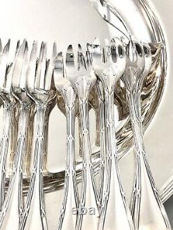 Christofle Crossed Ribbons Silverplated Pastry Dessert Fork Set Excellent