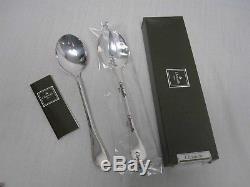 Christofle France Perles Silverplate 9 3/4 Salad Serving Set Fork & Spoon Mint